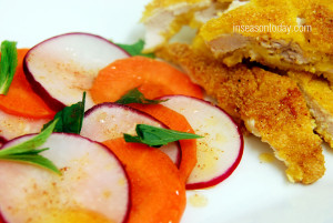 polenta crumbed schnitzel with red radish and carrots salad 3