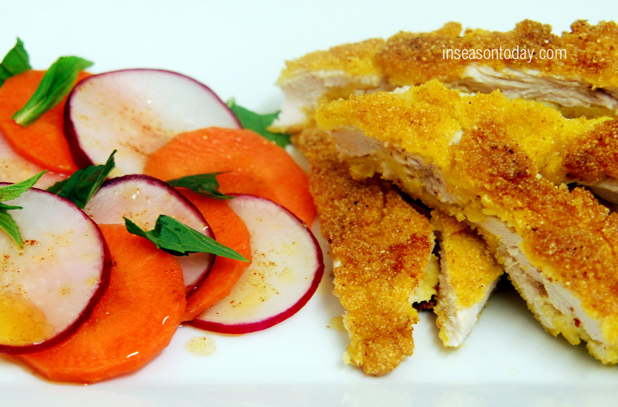 polenta crumbed schnitzel with red radish and carrots salad 6
