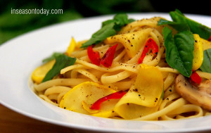lemon linguine with yellow squash, mushroom and basil 2