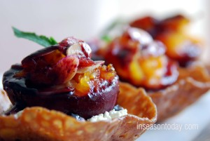 Baked Peaches With Mascarpone Cream and Blueberry Sauce 3