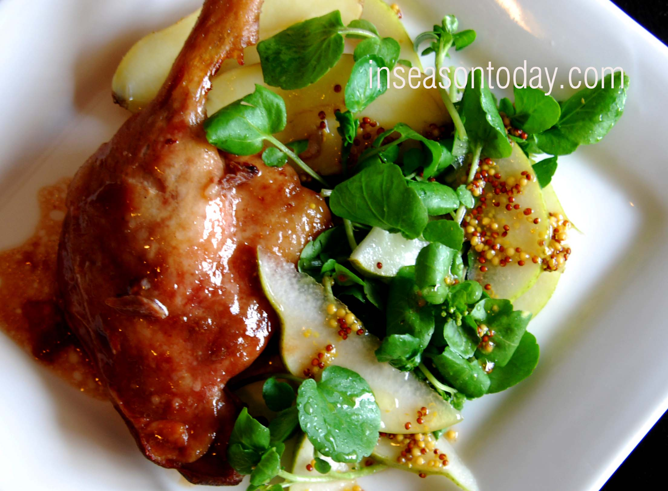 confit duck with pear apple watercress salad 2