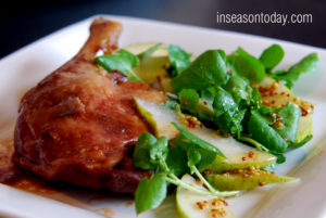 confit duck with pear apple watercress salad 4